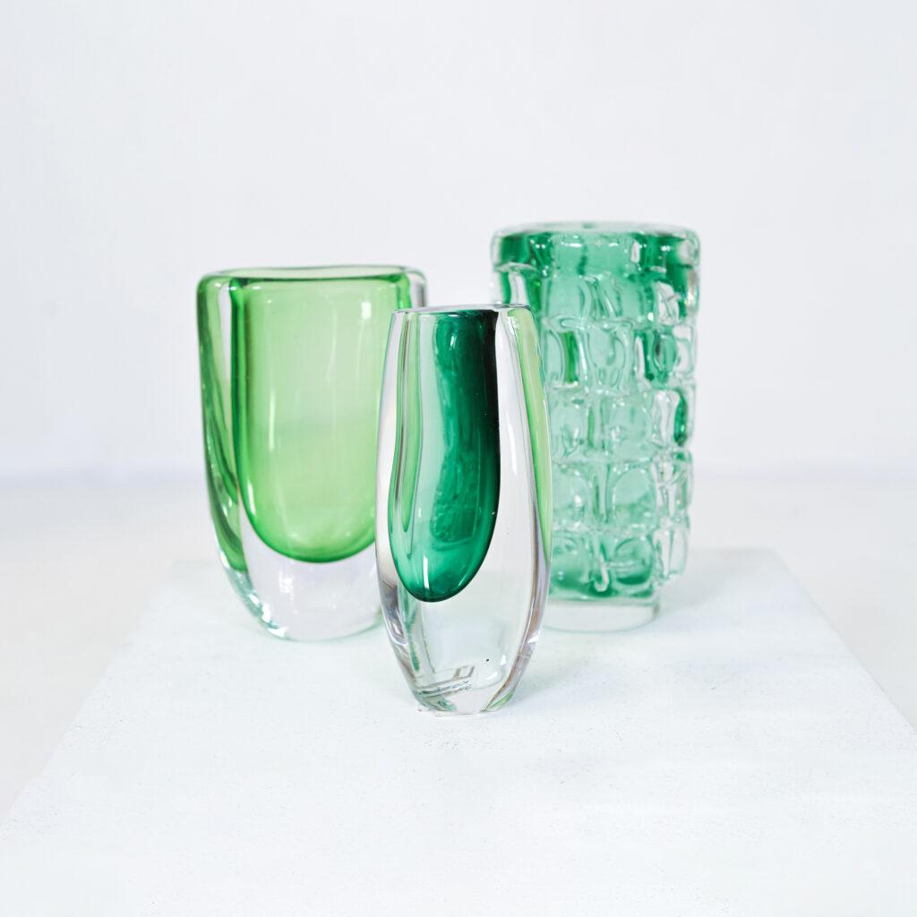 3 Green vases